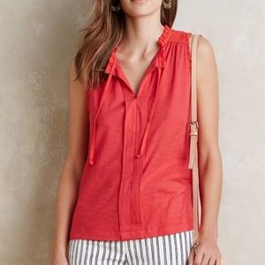 Anthropologie Meadow Rue Red Ruffle Pleated Top L